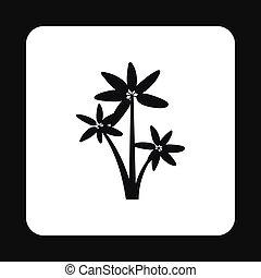 Three palms icon, simple style