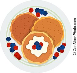 Three pancakes with berries on a plate vector icon flat isolated