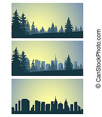 Three panoramic banners of city and coniferous forest.