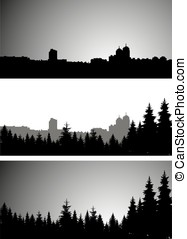city and coniferous forest - Three panoramic banners of city...