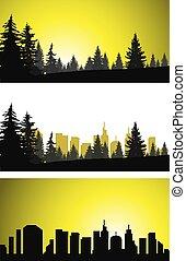 Three panoramic banners