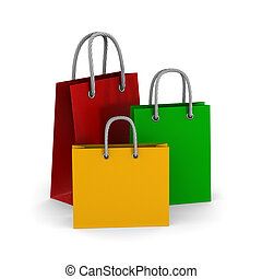 three paper gift bags on white background. Isolated 3D illustration