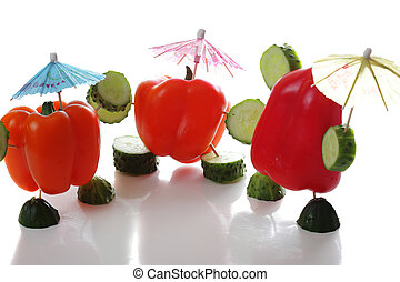 Three paprika with reflections
