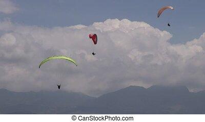 Three Parasails, Triplets, Trio, Paragliding, Sky Diving