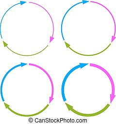 Three part arrow circles on white background