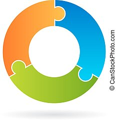 Three part process cycle chart - Puzzle three part process...