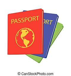 Three passports cartoon icon