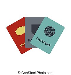 Three passports flat icon