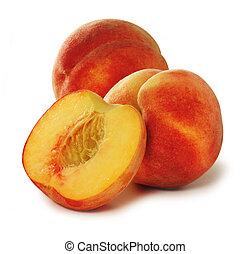 Three peaches over white