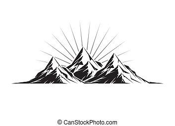 Three Peaks - Illustration of three mountain peaks as a ...