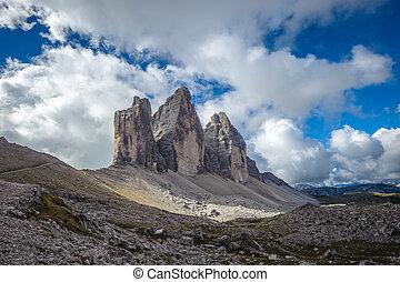 Three peaks. National Park Tre Cime di Lavaredo. Dolomites,...
