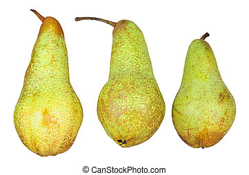 Three pears isolated on white