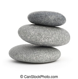 three pebbles stacked one onto each other, 3 stones over...