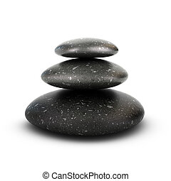 Three stones stacked over white background, balancing pebbles. 3D render symbol of relaxation, serenity and harmony.