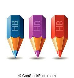 Three Pencil Vector Icon