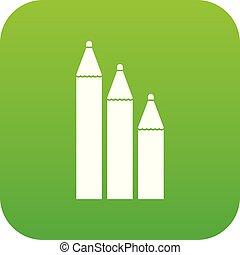 Three pencils icon digital green