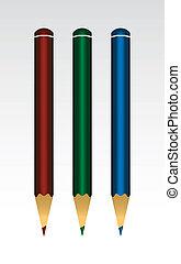 Three Pencils (Red, Green, Blue)