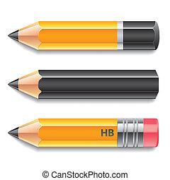 Three pencils vector illustration