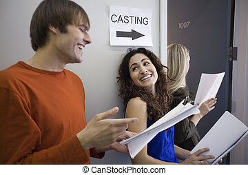 Three People at Casting Call - Three people in line at...