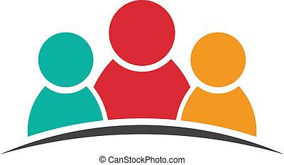 Three people friends logo - Three people friends. Group of...