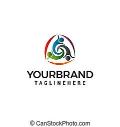 three people healty logo design concept template vector