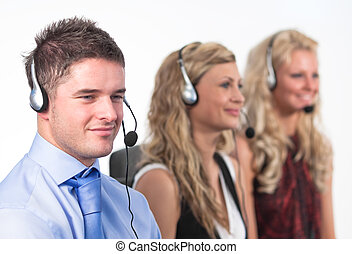 Three people in a call centre