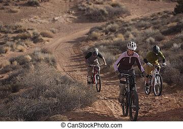 Three People Riding Mountain Bikes - Three people are riding...