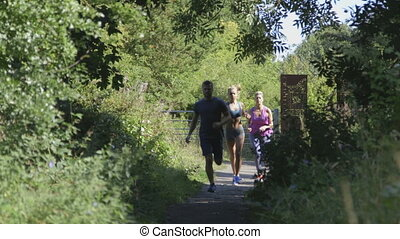 Three people running together - Three people running along a...