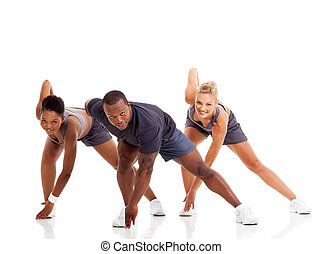three people stretching exercise