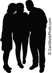 three people together, silhouette vector