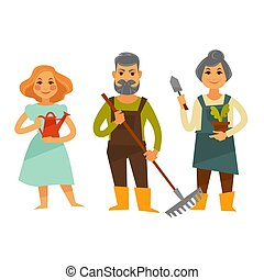 Three people with tools for working in garden