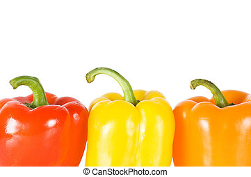 Three pepper isolated on white background