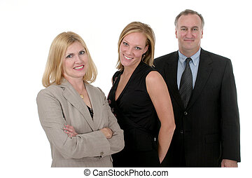 A three person business team of two attractive business women and one man.