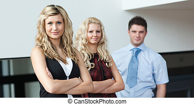 Three Person Business team showing positivity