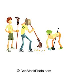 Three Person Collecting Garbage Cute Cartoon Style Flat...