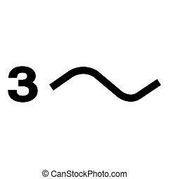 Three Phase Power Symbol Sign Isolate On White Background