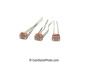 Three photoresistors isolated on a white background