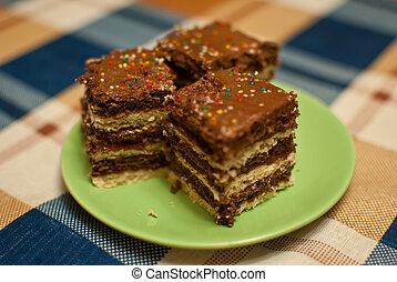 Three pieces of cake.