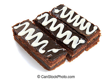 Three pieces of chocolate cake isolated