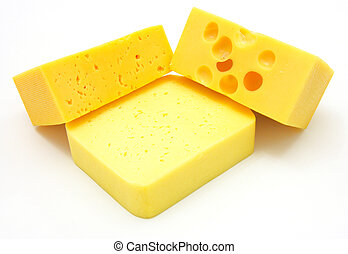 three pieces of different kinds of cheese