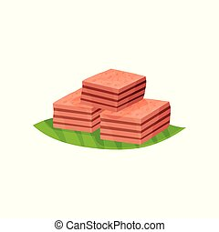 Three pieces of Indonesian layer cake Kek Lapis on green leaf. Delicious dessert. Colorful graphic element for poster or flyer of confectionery store.