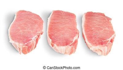 Three Pieces Of Raw Pork