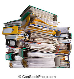 piles of file binder with documents - three piles of file...