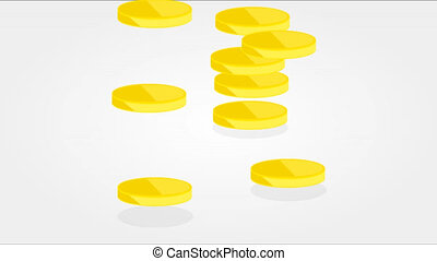 Three piles of gold coins, artistic video illustrations.