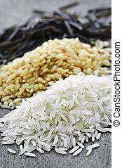 Three piles of rice