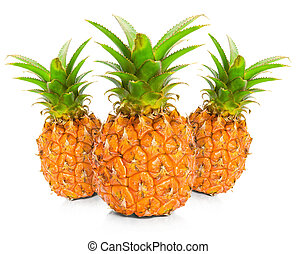 Three pineapple on white background