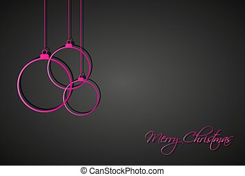 Three pink christmas balls on black background, holiday greeting card with merry christmas sign, vector iilustration