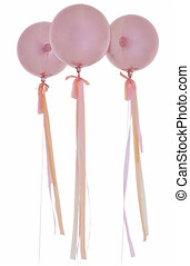 Three pink helium balloons with pink ribbons isolated on white background.
