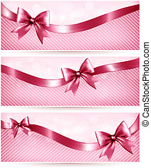 Three pink holiday banners with gift glossy bow and ribbon....