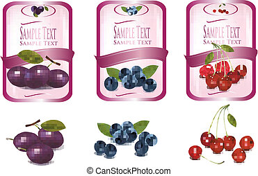 Three pink labels with different sorts of fruit. Vector.